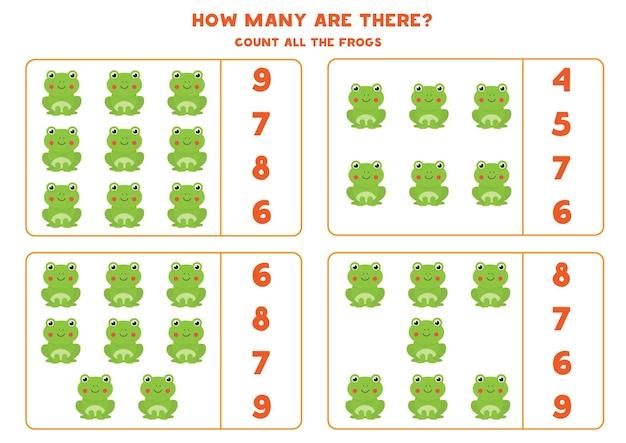 Spel tellen voor kinderen. tel alle schattige kikkers. werkblad voor kinderen.