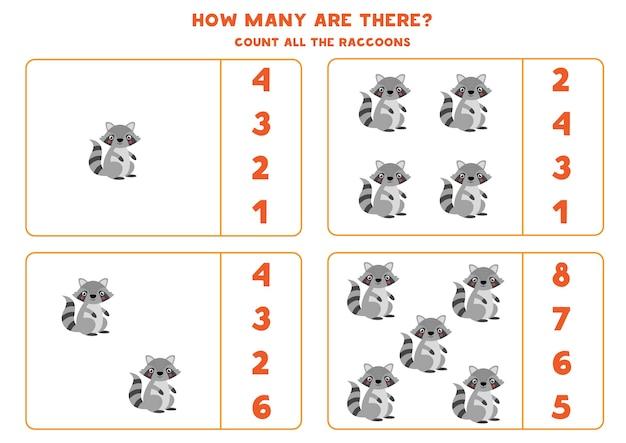 Spel tellen voor kinderen. tel alle schattige wasberen. werkblad voor kinderen.