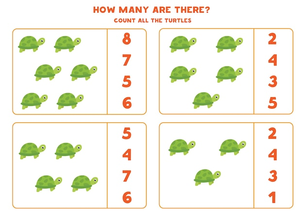 Spel tellen voor kinderen. tel alle schildpadden. werkblad voor kinderen.