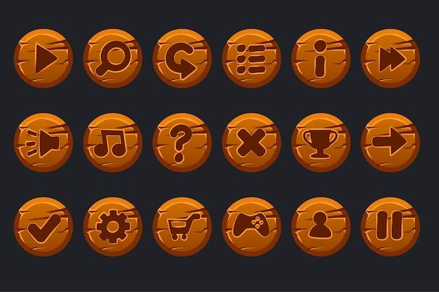 Spel ui kit. set cartoon houten cirkels knoppen voor grafische gebruikersinterface gui en games.