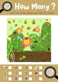Spel van insectenkudde dieren tellen