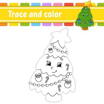Spel van punt naar punt teken een lijn kleurboek kerstthema