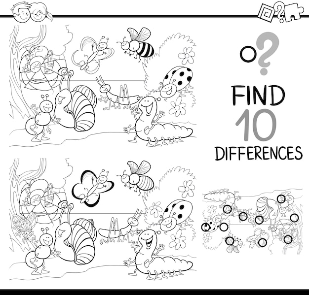 Spel van verschillen om in te kleuren