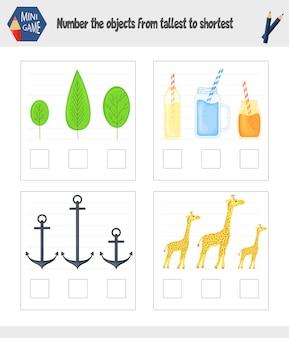 Spel voor kinderen om de grootte van het onderwerp te bepalen. cartoon-stijl. vector illustratie.