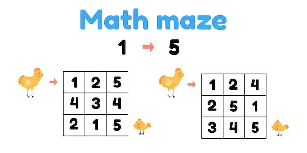 Spel voor kleuters. wiskundig doolhof. help de kip om het kuiken te vinden.