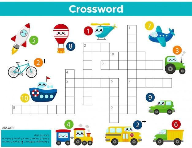 Spel voor kruiswoordpuzzel van kawaii-transporten.