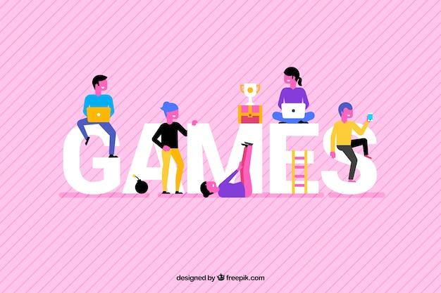 Spelachtergrond met kleurrijke mensen
