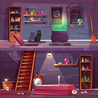 Spelachtergrond van heksenhuis met kelder
