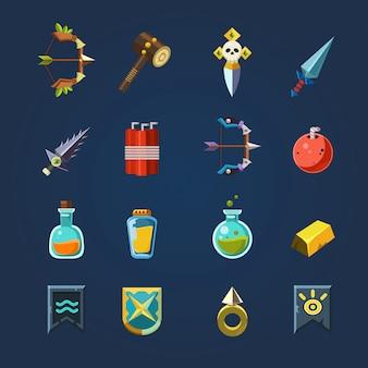 Spelbronnen pictogrammen platte set