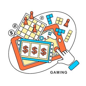 Spelconcept: een hand aanrakende gokautomaat in lijnstijl