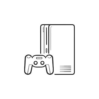 Spelconsole met joystick hand getrokken schets doodle pictogram. thuisconsole, concept voor videogameconsole