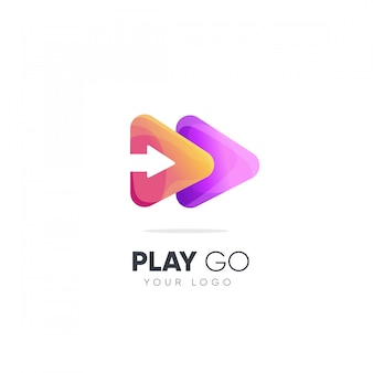 Spelen gaan logo-ontwerp