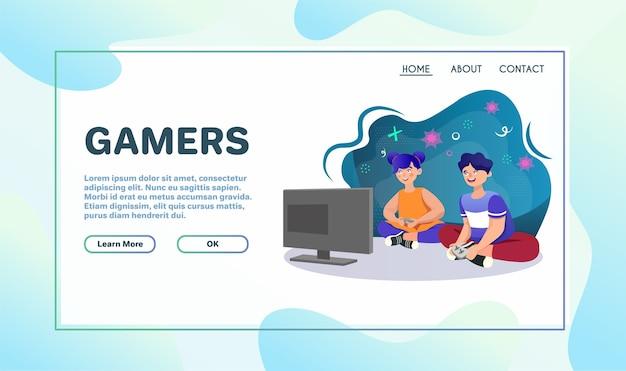 Spelen van games platte vectorillustratie