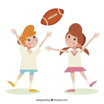 Spelende kinderen american football