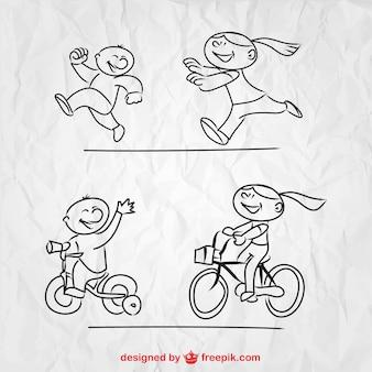 Spelende kinderen vector schets