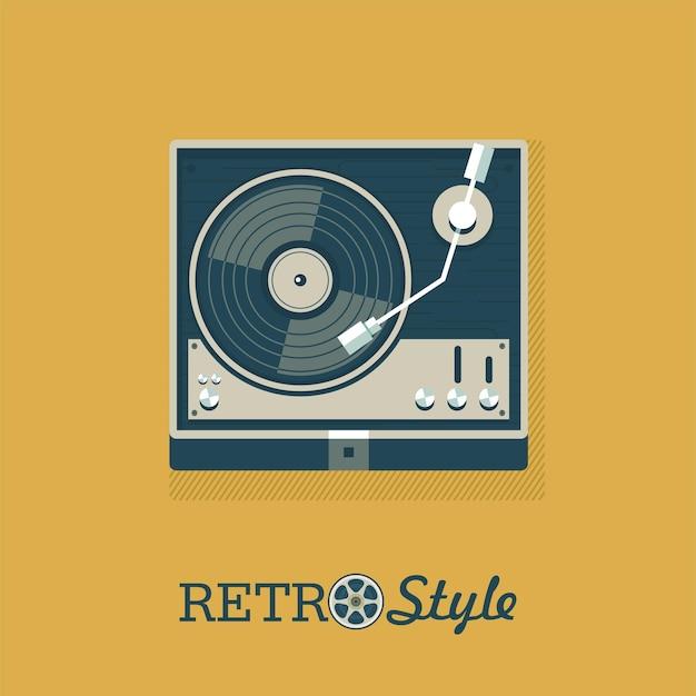 Speler voor vinylplaten. embleem, embleem. vector illustratie.