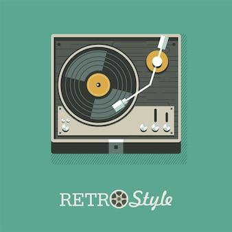 Speler voor vinylplaten. embleem, pictogram. vector illustratie.