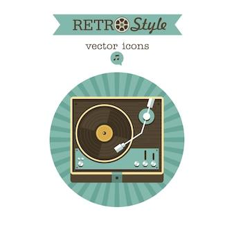 Speler voor vinylplaten. retro-muziek. embleem, pictogram.