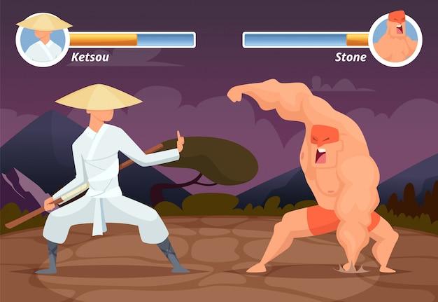 Spelgevechten, schermlocatie van computer 2d gaming aziatische jager versus worstelaar luchador achtergrond