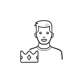 Spelleider met kroon hand getrokken schets doodle pictogram. computerspelspeler wint, spelwinnaar award concept
