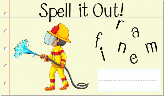 Spellen engels woord brandweerman