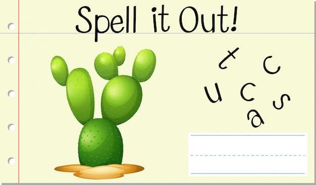 Spellen engels woord cactus