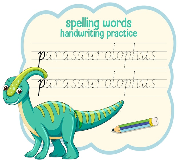Spelling van woorden dinosaurus handschrift oefenblad