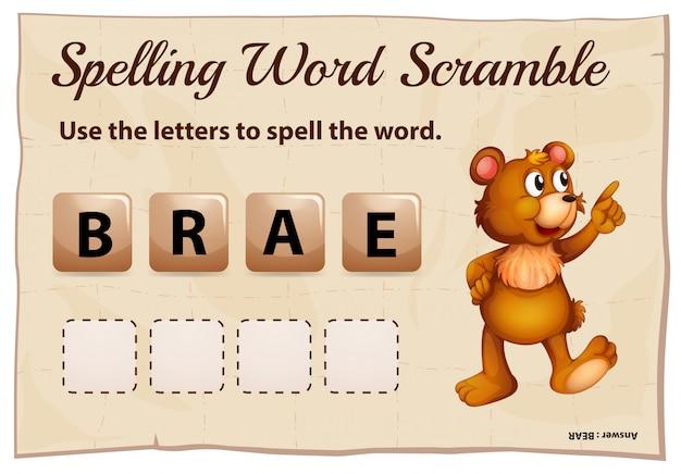 Spelling woord klauteren voor woord beer
