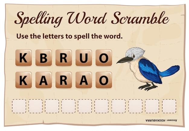 Spelling woord klauteren voor woord kookabura