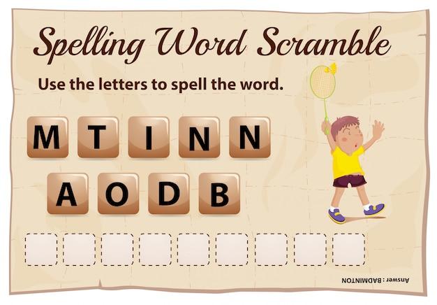 Spelling woord scramble game met woord badminton