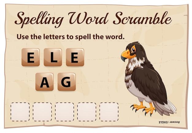 Spelling woord scramble game met woord eagle