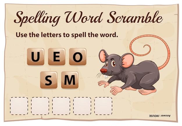 Spelling woord scramble game met woord muis