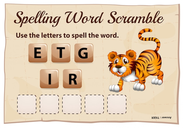 Spelling woord scramble game met woord tijger