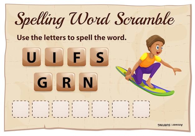 Spelling woord scramble sjabloon met woord surfen