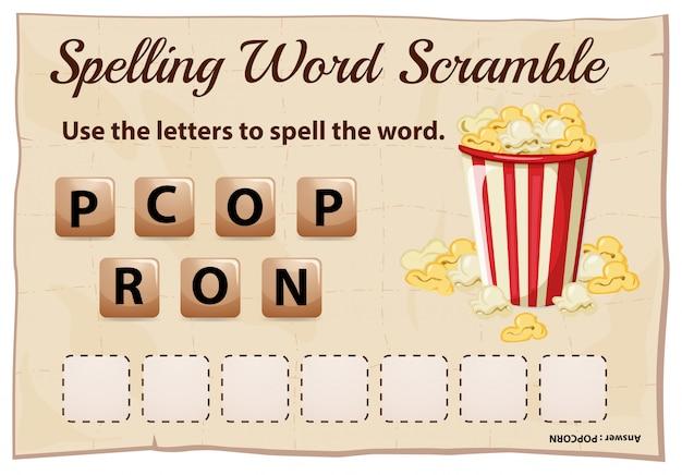 Spelling woord scramble sjabloon voor woord popcorn