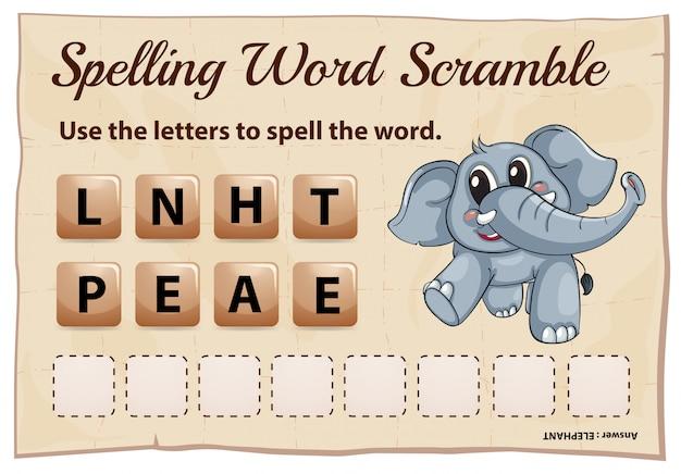Spelling woord scramble spel voor woord olifant
