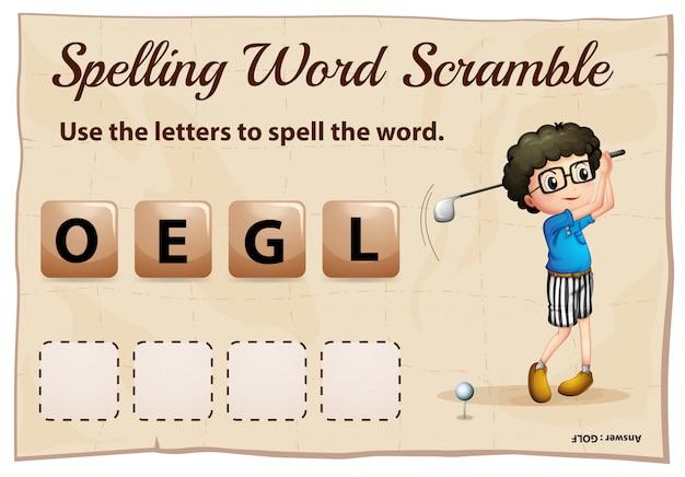 Spelling woord scramble voor woord golf