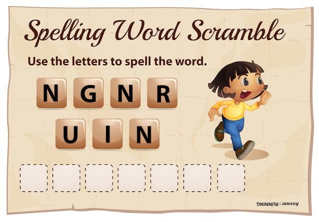 Spelling woord scramble voor woord uitgevoerd