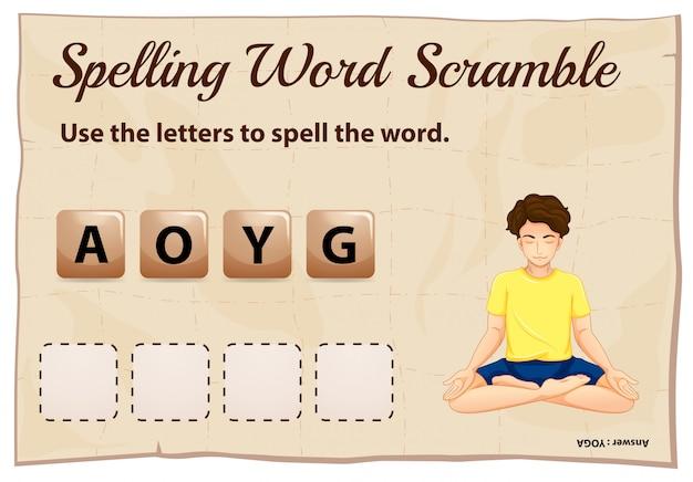Spelling woord scramble voor woord yoga