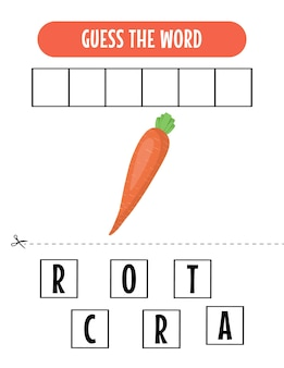 Spellingspel voor kinderen met wortelillustratie
