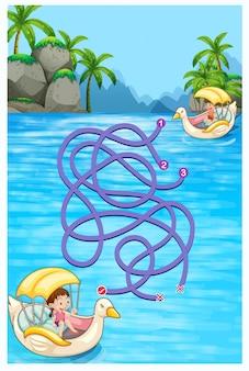 Spelmalplaatje met kinderen die boten berijden