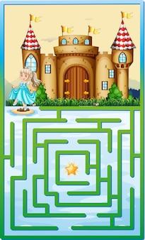 Spelmalplaatje met prinses en kasteel