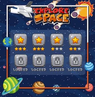 Spelmalplaatje met vele planeten op de ruimteachtergrond