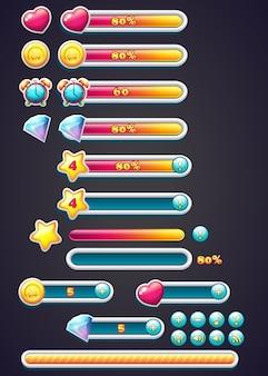 Spelpictogrammen met voortgangsbalk, graven en een download van een voortgangsbalk voor computerspellen