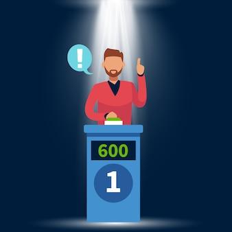 Spelshow. de bevindende mens heft hand op, beantwoordt vraag en duwt knoop op tv-spel met podium en licht concept