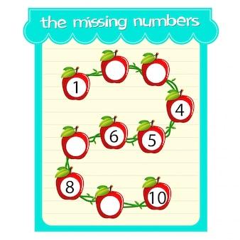 Spelsjablonen met ontbrekende nummers