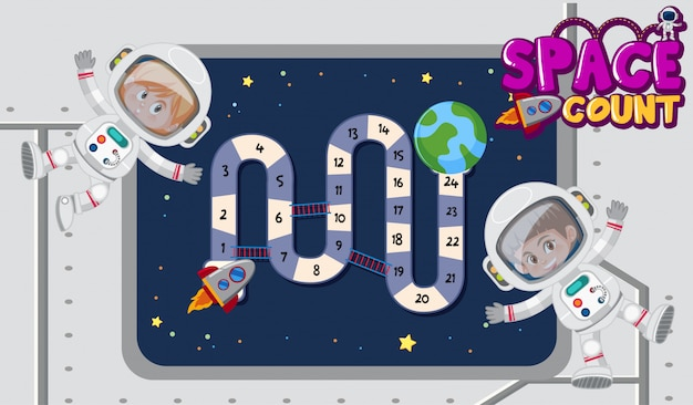 Spelsjabloon met astronauten die in de ruimte vliegen