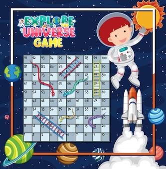 Spelsjabloon met astronauten op ruimteachtergrond