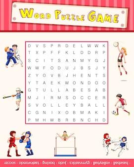 Spelsjabloon met woordpuzzel over sport