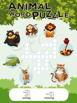 Spelsjabloon voor dieren met woordpuzzels